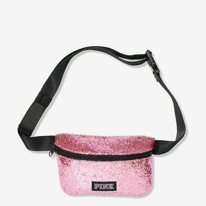 Pink Victoria's secret glitter bell bag black.